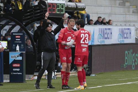Daniel Pedersen måtte gi seg i 1. omgang mot Glimt.