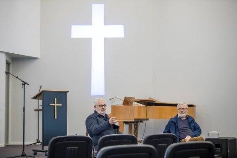 Helge Kvamme (til venstre) og Bård Hauge synes kritikken som kom etter det store utbruddet i bedehusmiljøet på Askøy var urettferdig.