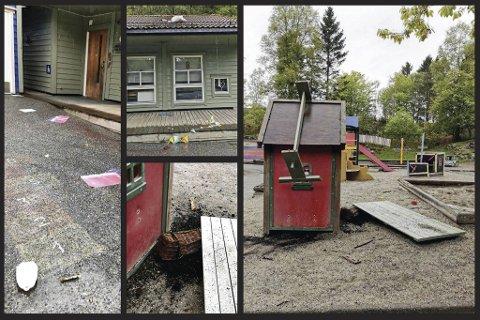 Slik så det da de ansatte kom på jobb i Morvikbotn barnehage tirsdag morgen.