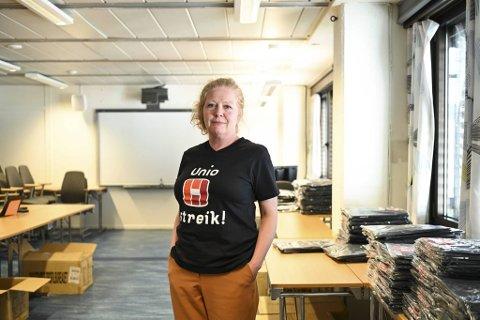 Bente Myrtveit er leder for Unio i Bergen og organiserer streiken.  Vi er klare til å streike lenge, men vi håper det blir kortest mulig, sier hun.