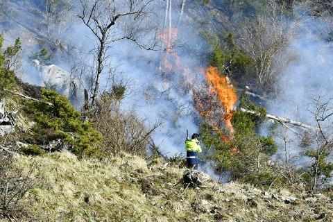 Det har brent i Fana siden klokken 16 mandag ettermiddag. Her jobbes det for å få kontroll på flammene.