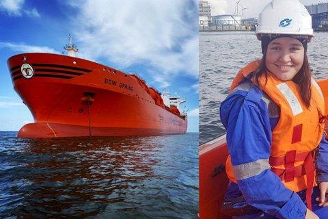 Lene Kristine Strøm har seilt for Odfjell i snart 13 år og har ennå til gode å bli sjøsyk. Kjemikalietankeren «Bow Spring», som hun arbeider på, er 183 meter lang.