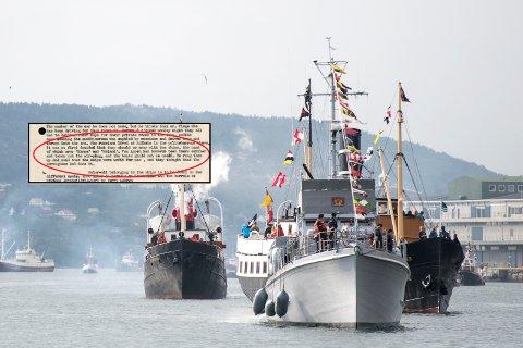 Lite minner om krig og kapitulasjon i dag, selv om mange av veteranbåtene fortsatt er i drift. Her ses blant annet Shetlandsbussen KNM «Hitra» under en Fjordsteam-festival i 2018.