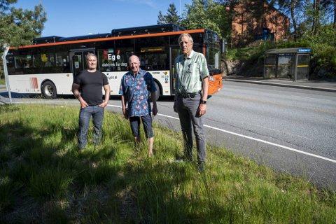 Bønesfolket krever å bli hørt. F.v: Kasper Verlo, FAU-leder på Storetveit skole, Kjell Skår, leder av Velforeningen av 6. juni, og Gunnar W. Ramsdal, initiativtaker og leder i Vårt Bønes.
