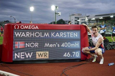 Karsten Warholm satte ny verdensrekord på Bislett torsdag.