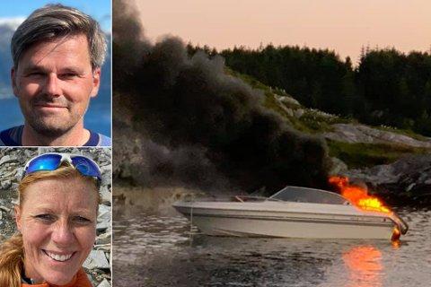 Brått tok motoren i båten fyr, og da måtte Njål Hansen, Linn Dyveke Wilberg, sønnen deres og hans onkel hoppe til sjøs og vente på hjelp.