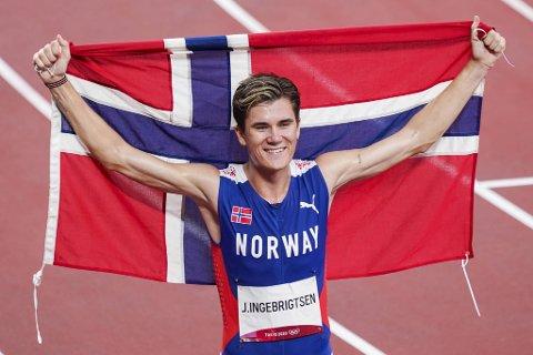Jakob Ingebrigtsen vant OL-gull på 1500 meter lørdag. Foto: Lise Åserud / NTB