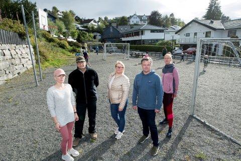 Fra venstre: Sonja Sørheim Grossalber, Arian Rafi, Hilde Gjerstad, Per Christian Lønning og Ingrid Bøe Knudsen reagerer på at deres tidligere naboer prøver å selge lekeplassen som er opparbeidet og vedlikeholdt av fellesskapet.