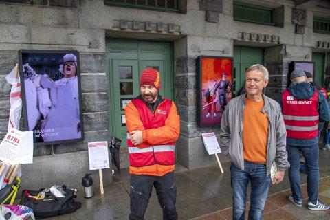 Rune Kjelby, fra Fagforbundet teater og scene og Jan Kåre Hystad fra Creo.