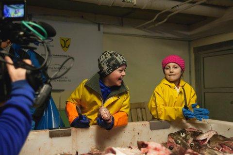 Fra opptakene av Tungeskjærerne som foregikk på Myre i fjor vinter. Her er det Ylva fra oslo som lærer å skjære tunger av Tobias fra Myre. (Foto: Trond K. Johansen)