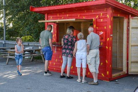 SESONGÅPNING: Jordbærboden står klar til å ta imot nye gjester. Hopsgården Samvirke håper å kunne åpne salget førstkommende helg. Bildet er tatt i 2019.