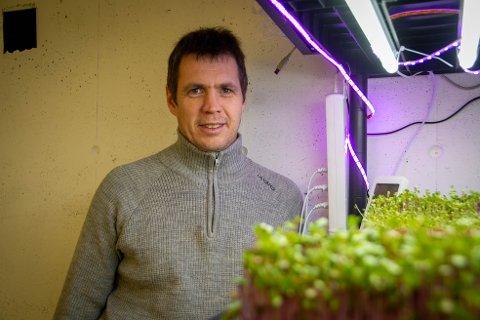 Mikrogrønnsaker: Bjørn Johansen trenger bare en uke på å gro mikrogrønnsakene i garasjen.
