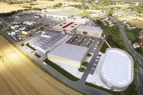 Storslått: Vestaksen Eiendom planlegger byggestart ved Aksen Næringspark i Hokksund til våren. En utbygging anslått til å koste opp mot 400 millioner kroner.         Montasje: Realist Næringsmegling