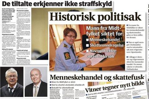 Menneskehandel: Aktor Statsadvokat Kristian Nicolaysen (lite bilde til venstre) møter blant annet forsvars-                        advokat Arild Holden (lite bilde til høyre) til dyst i retten til uka.                                                      Faksimile Bygdeposten