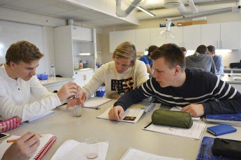 Forsøk: Her testes hardhet i vann av Einar Moe Tandberg (t.v.), Kenneth Ruud og Erlend Andreas Nordbø i kjemirommet på Rosthaug videregående skole.