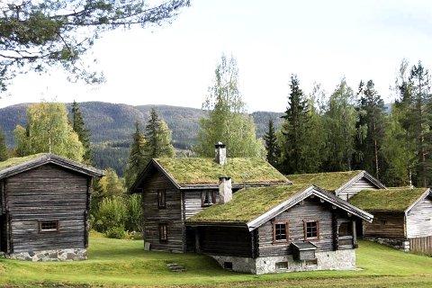 Unik: Eiendommen Rust er unik fordi hele tunet består av gamle tømmerhus. Hovedhuset er fra rundt 1930, mens i alle fall fire av bygningene skriver seg fra 1700-tallet.FOTo: Eiendomssenteret