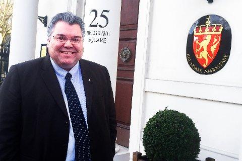 LONDON CALLING: Morten Wold var mandag på møter ved den Norske ambassaden i London.