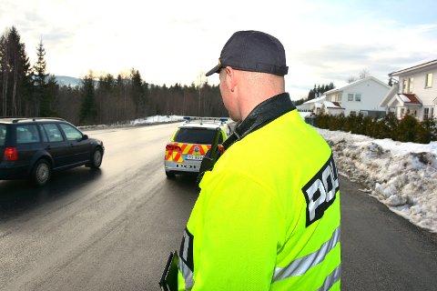 PÅ JOBB: Her i Geithusveien kunne UP skrive ut gebyr til fire bilister.