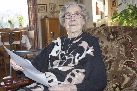 Reagerer: Borghild Anmarksrud (98) fra Bingen frykter for fremtidens hjemmetjeneste i Øvre Eiker.