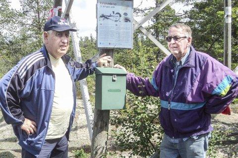 Hovlandsvarden: Gunnar Hellerud og Jan Erik Nilsen kan slå fast at mange har vært på Hovlandsvarden.Foto: Privat