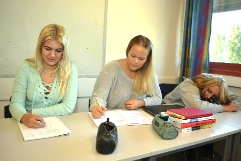 Glede og fortvilelse: Martine Holtvedt, Mina Fidjestøl og Ingrid Bråthen har akkurat startet på vg3 studiespesialisering. I tekstene sine viser de både glede og fortvilelse over skolegangen hittil.