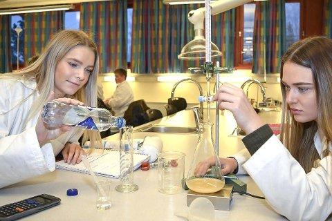 STEMMER INNHOLDET? Her er det Lise Sønsterud Svarteberg (t.v.) og Tonje Elise Gaathaug i Kjemi 2 på Rosthaug videregående skole som utfører fellingstitrering.