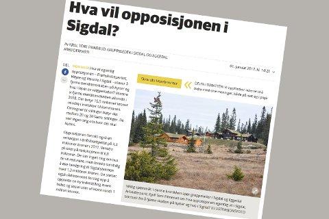 Skjermdump fra Kjell Tore Finneruds innlegg på bygdeposten.no 1. januar.