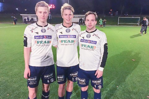 MÅLSCORERE: Lars Bråthen Uhlen (f.v.), Vemund Skatvedt og Simen Velstad scoret tre av MFKs fire mål mot et sterkt HBK 2 tirsdag kveld.