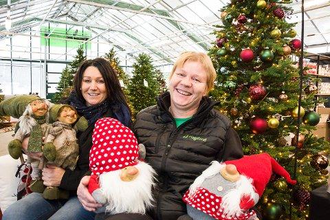 JULELAND: May (f.v.) og Gry Brynslund selger mellom 150 og 200 kunstige juletrær i året. Siden de begynte med stor juleavdeling i 2014, har den bare vokst i omfang for hvert år. – Vi må hele tiden utvikle oss, sier de to søstrene.