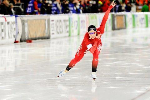 LANDSLAGSLØPER: Ellen Bjertnes, som her er avbildet under vinterens EM allround, blir del av sprintlandslaget kommende sesong.
