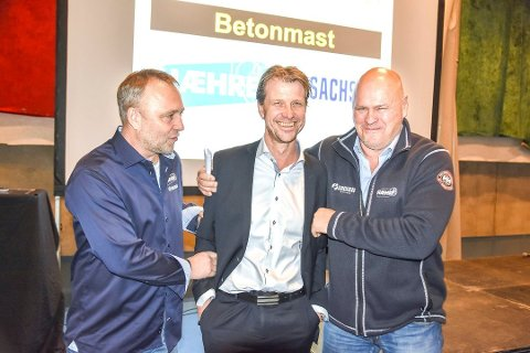 BLIR FLERE: Rune Isachsen (f.v.), Jørgen Evensen og Albert Kr. Hæhre fotografert da Hæhre Isachsen og Betonmast fusjonerte. Nå har selskapet kjøpt Tronrud Gruppen.