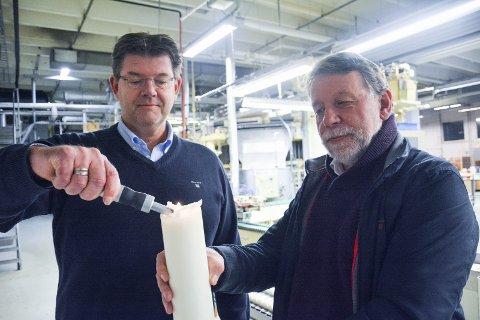 KLAGER: Tyri og HTS er to av bedriftene som klager på ny takst. Dette bildet er fra desember i fjor, da Tyri-sjef Jan Petter Krogstad (t.v.) og Hans Kristian Torgersen, som både er styreleder i Tyri og konsernsjef/eier av HTS, bekymret seg for skattetrykket mot næringslivet.