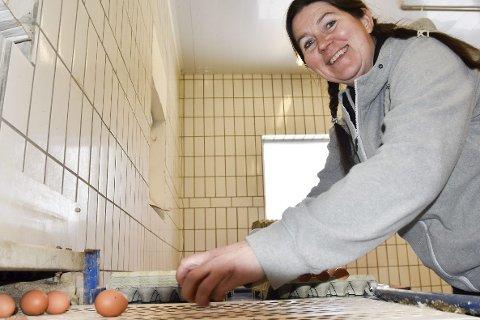 TØR SATSE: Berit Wiersdalen og mannen Øystein satser på økologisk eggproduksjon og 3000 høner sørger for om lag 22.000 egg i uken.