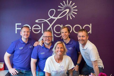 Feelgood-teamet:Asle Klem Furevik (f.v.), Truls Nebell, Vibeke Skofterud, Christian Bache og Knut Ole Kopland.