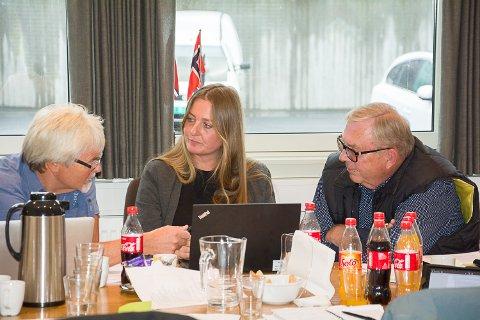 LANG DEBATT: Runolv Stegane (V), Heidi Hübner (V) og Bård Sverre Fossen (H) diskuterer sykkelstien ved Gamlesetra. Til slutt inviterte Bård Sverre Fossen gruppelederne til gruppemøte, og det ble lagt fram et fellesforslag.