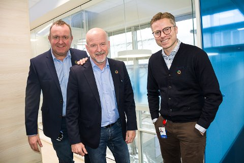 SPENT PÅ SØKERNE: Espen Tangerud, Egil Meland og Arild Aune Fallan i SpareBank1 Modum håper de får mange søkere til ZURF-programmet.