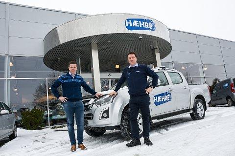 ÅPNER NY BUTIKK: Hæhre & Isachsen Auto åpner ny butikk i Drammen denne uka. Bernt André Engøy, utviklingsansvarlig i Hæhre & Isachsen Bilutleie og Lars Magne Larsen, daglig leder Hæhre & Isachsen Auto.