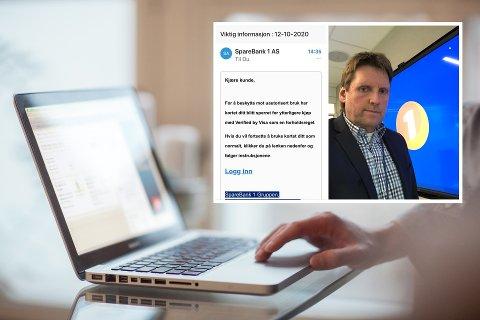 PASS PÅ: E-poster som dette er ikke sendt ut av banken, selv om det svært ofte kan se slik ut. – Pass på, og varsle oss gjerne om svindelforsøk, sier Tom Prestegaard i Sparebank 1 Modum.