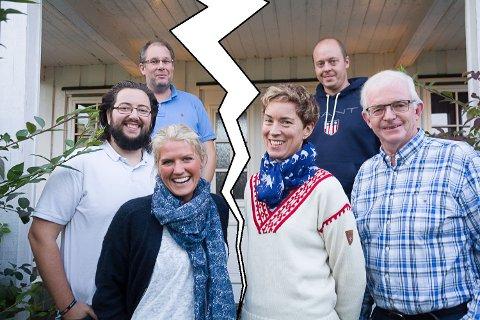 BRUDD: Høyre med Gøril Ødegård (foran t.v.), Andreas K. Torp og partileder Per Kristensen bryter samarbeidet med Bygdelistas Kristine Nore, Knut Martin Glesne og Bjørn Kristian Bråten. Det betyr at det heretter må søkes flertall fra sak til sak.