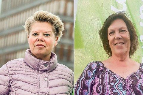 FORESLÅR EIENDOMSSKATT: Laila Oliversen Brandsgård (SV - t.v.) og Brit Eva Helgedal (MDG) har laget et felles budsjettforslag, der de blant annet innfører eiendomsskatt i Modum.