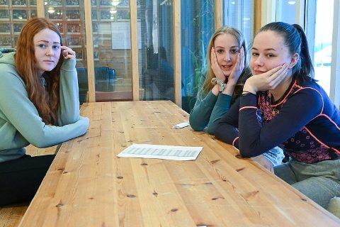 KRITISKE: Thea Emilie Høgli (f.v.), Kari Ask Nore og Sara Sandstrand, er svært kritiske til innføringen av nærskoler.