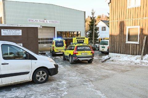 ARBEIDSULYKKE: Én person ble onsdag flydd til Ullevål etter arbeidslykke hos Bergan smie & verksted i Strandgata.