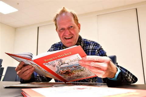 EGEN BOK: Roger Moen har samlet alle tegningene han har hatt på trykk i Bygdeposten i en egen bok.