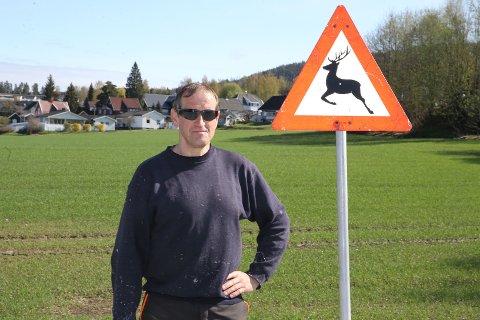 VARSEL: – Jeg har bodd i Åmot i tolv år og hatt rådyr i hagen én gang, sier Bjørnar Fjeldvik som bor i huset bak ham og varselskiltet for hjort som er satt opp langs riksvei 350.