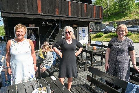 TRYGGE: – Vi holder god avstand, koser oss i sola og opplever det som koronatrygt å være her på Blaafarveværket, sier venninnene Anne Gro Røkaas (f.v.), Inger Ramberg og Rinda Lindgren.