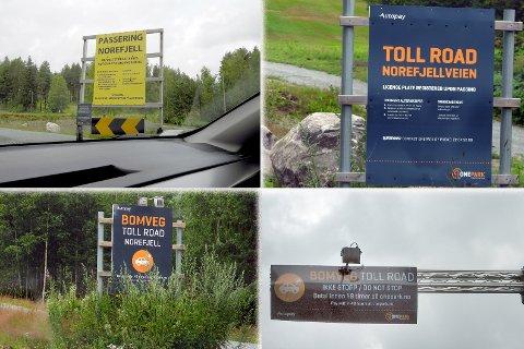 BOMVEI: Disse skiltene møter deg i dag når du skal kjøre opp veien til Norefjell - og forteller deg hvordan du kan betale.