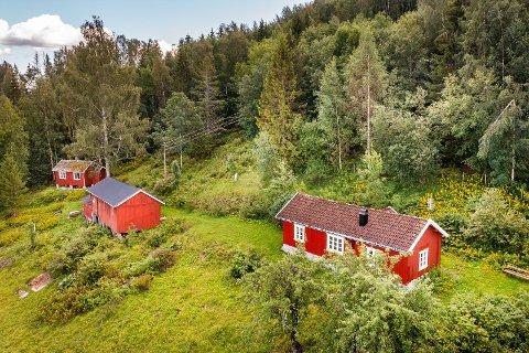 BOLTREPLASS: Denne fritidseiendommen selges med 35 mål tomt. Hyttene har utsikt mot Tyrifjorden, og på den andre kanten venter Finnemarka.