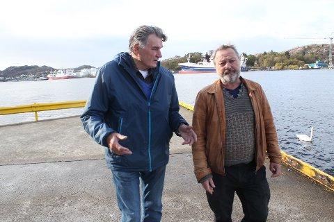 SEIER NEI: Erling Skåtøy (t.v.) i Fiskarlaget og Rune Haaland i Motvind Sørvest er einige; dei vil ikkje ha ei utbygging av vindkraft til havs.