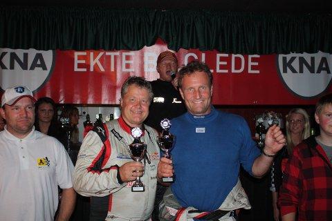Svein Frustøl ( til høyre ) og kartleser Ragnar Klami ble i år som i fjor vinner totalt av Rally Sokndal.