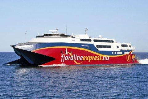 """""""Fjord Cat"""", er et hurtiggående skip som bare kan gå i en viss bølgehøyde. Tingretten i Kristiansand avgjort at Fjord Line er i sin fulle rett til kun å tilby sommerseilinger."""